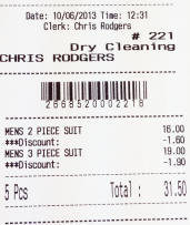 ECR Touch Dry Clean receipt